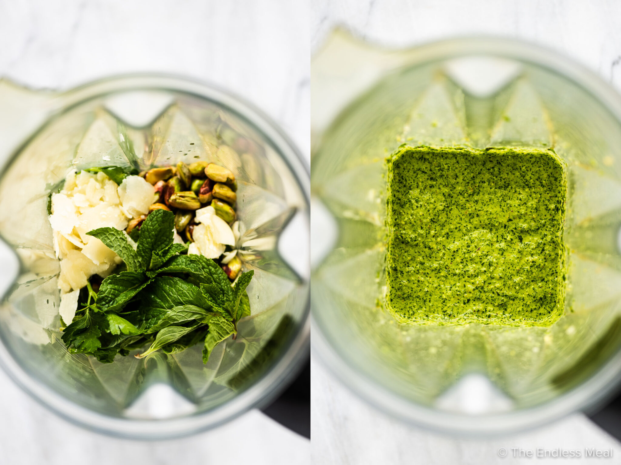 2 pictures showing how to make mint pesto.