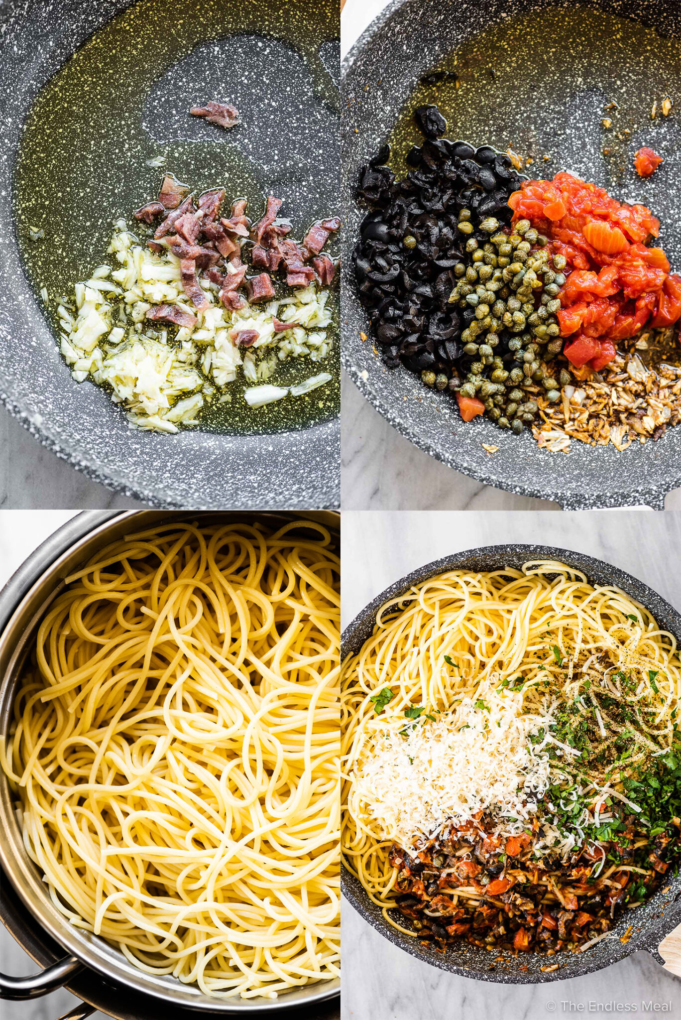 4 pictures showing how to make pasta puttanesca.