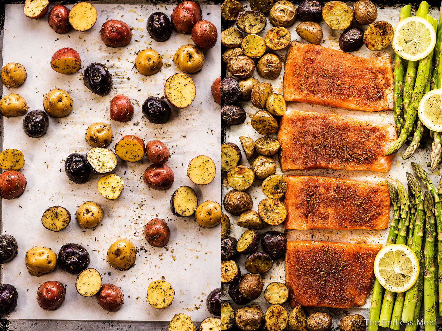2 pictures showing how to make sheet pan salmon,