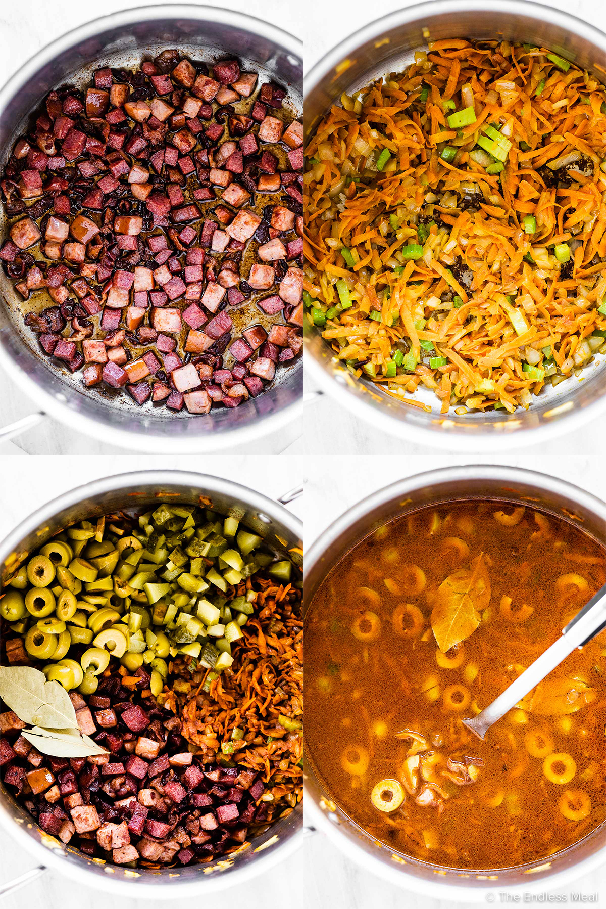 4 pictures showing how to make solyanka soup.