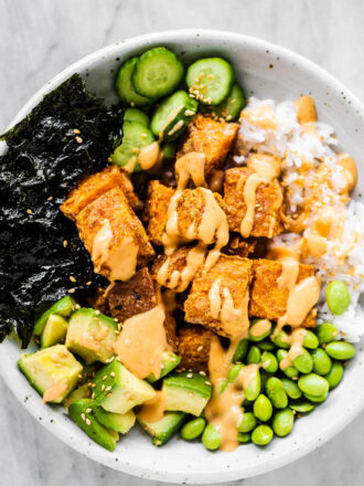Sweet Potato Roll Sushi Bowl on a white plate.