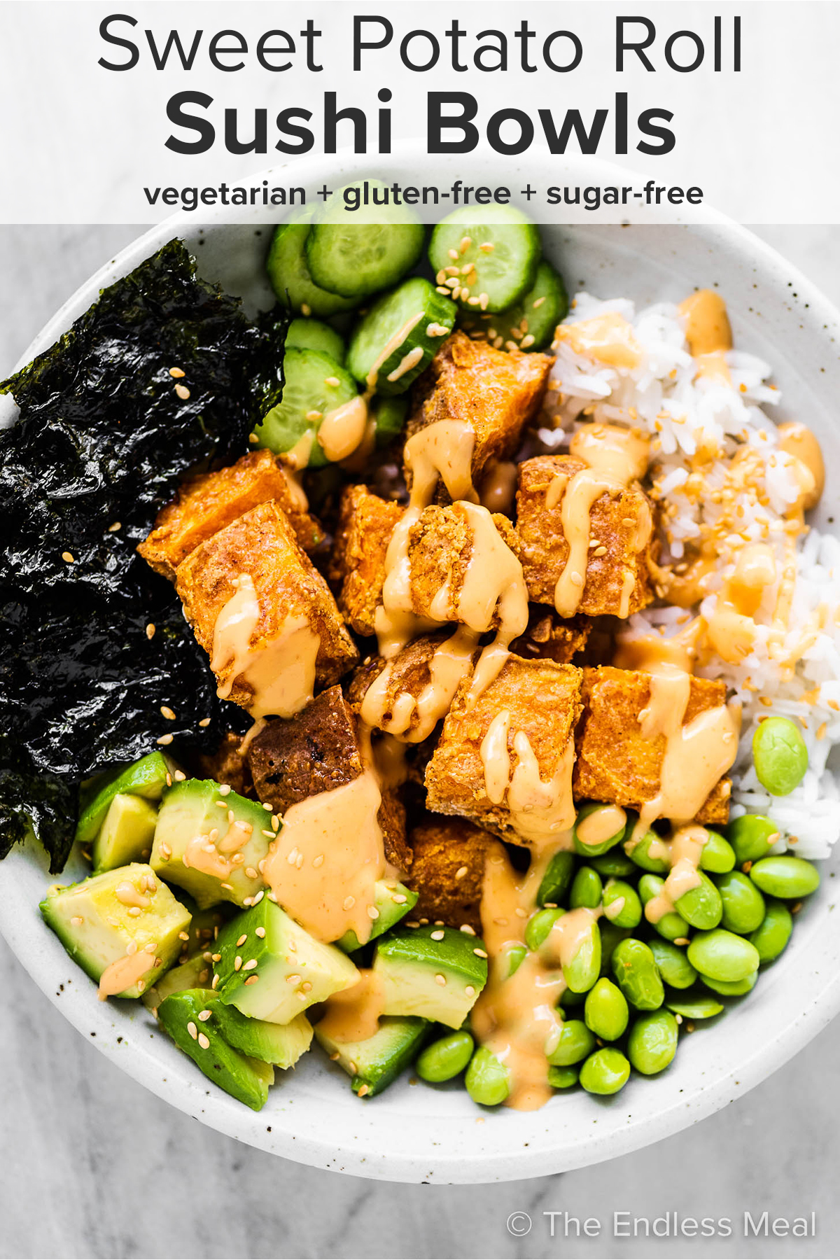 Sweet Potato Roll Sushi Bowl on a white plate with the recipe title on top of the picture.