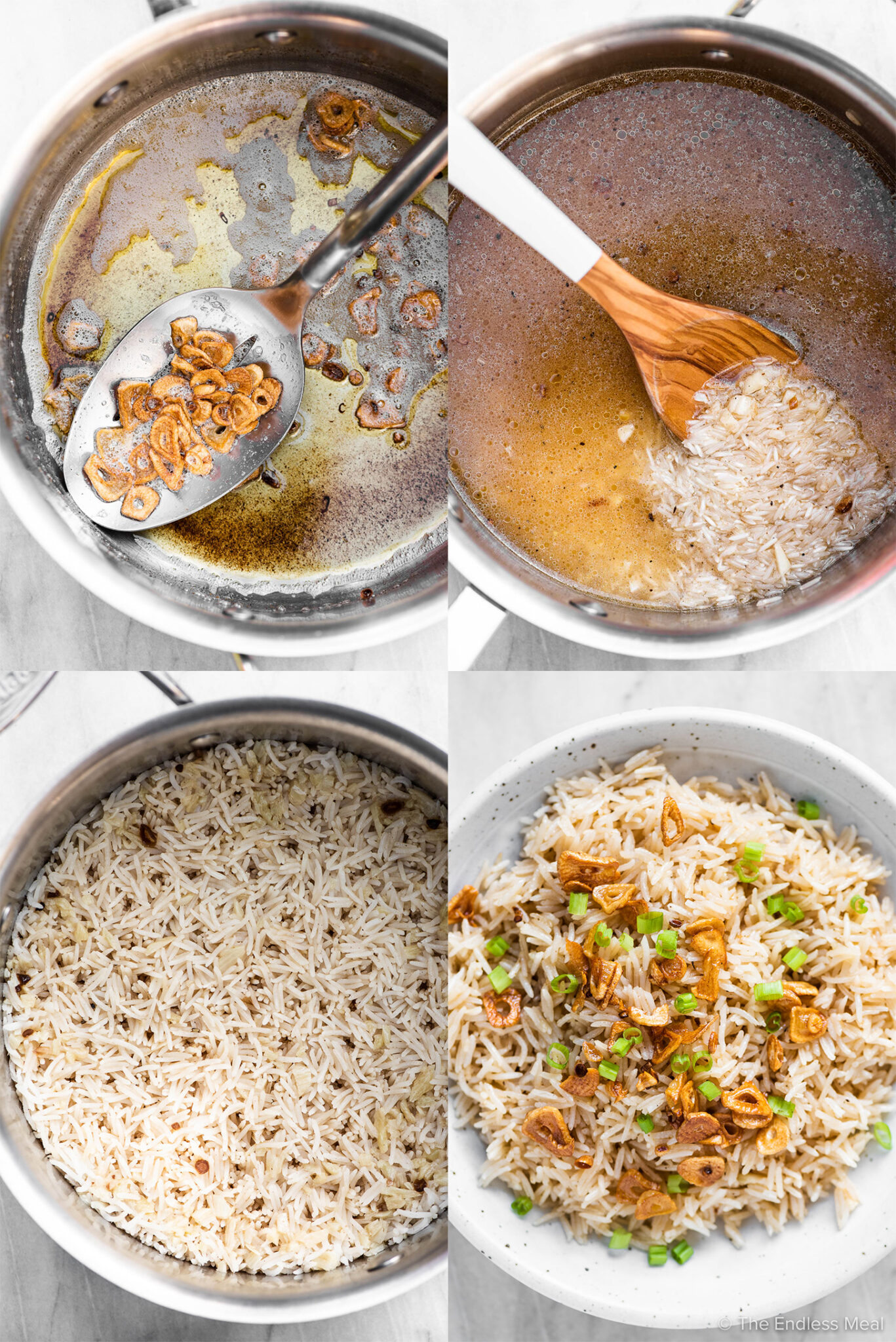 4 pictures showing how to make this garlic butter rice recipe.