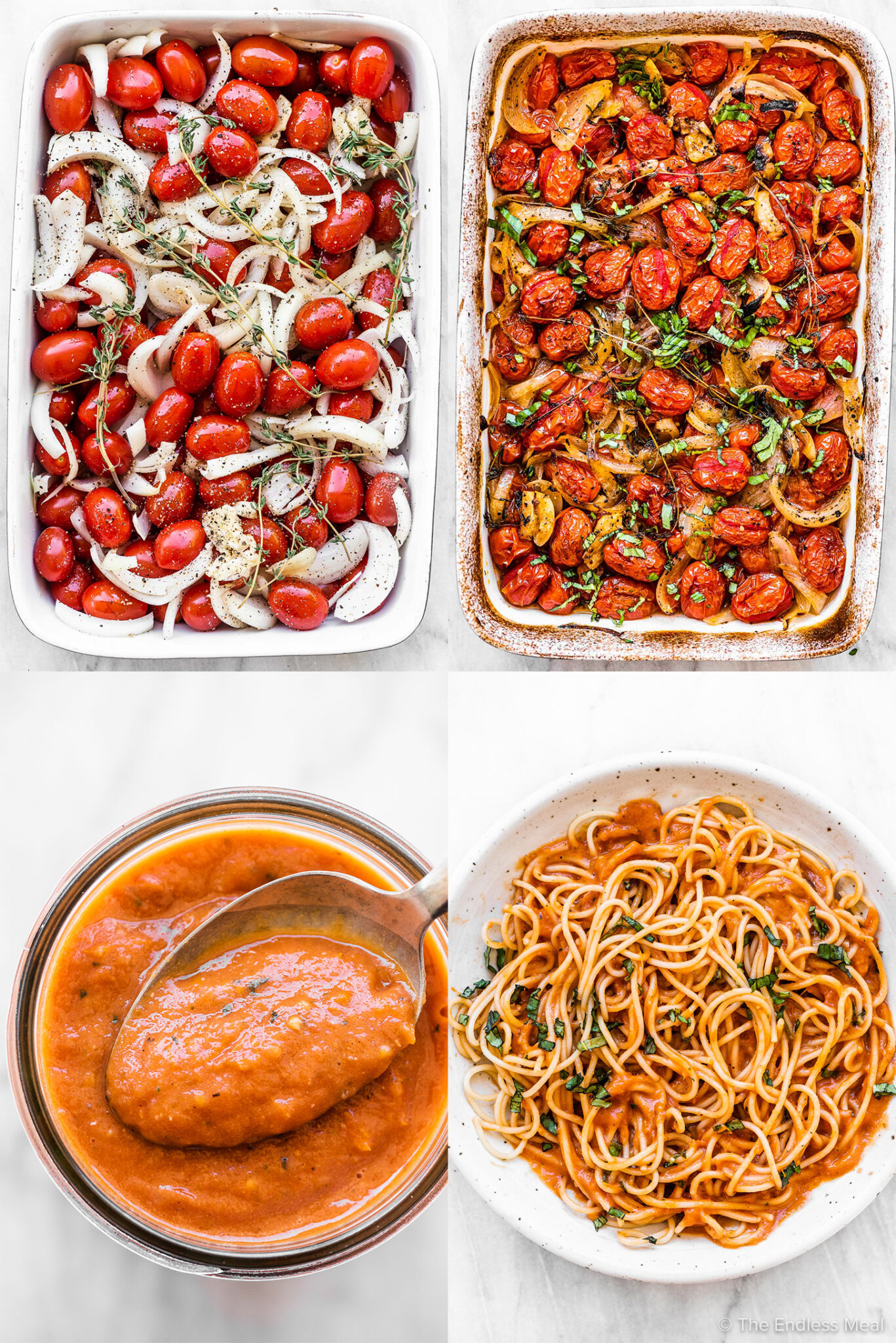 4 pictures showing how to make roasted cherry tomato sauce.