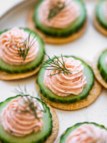 Smoked Salmon Mousse on crackers and cucumbers.