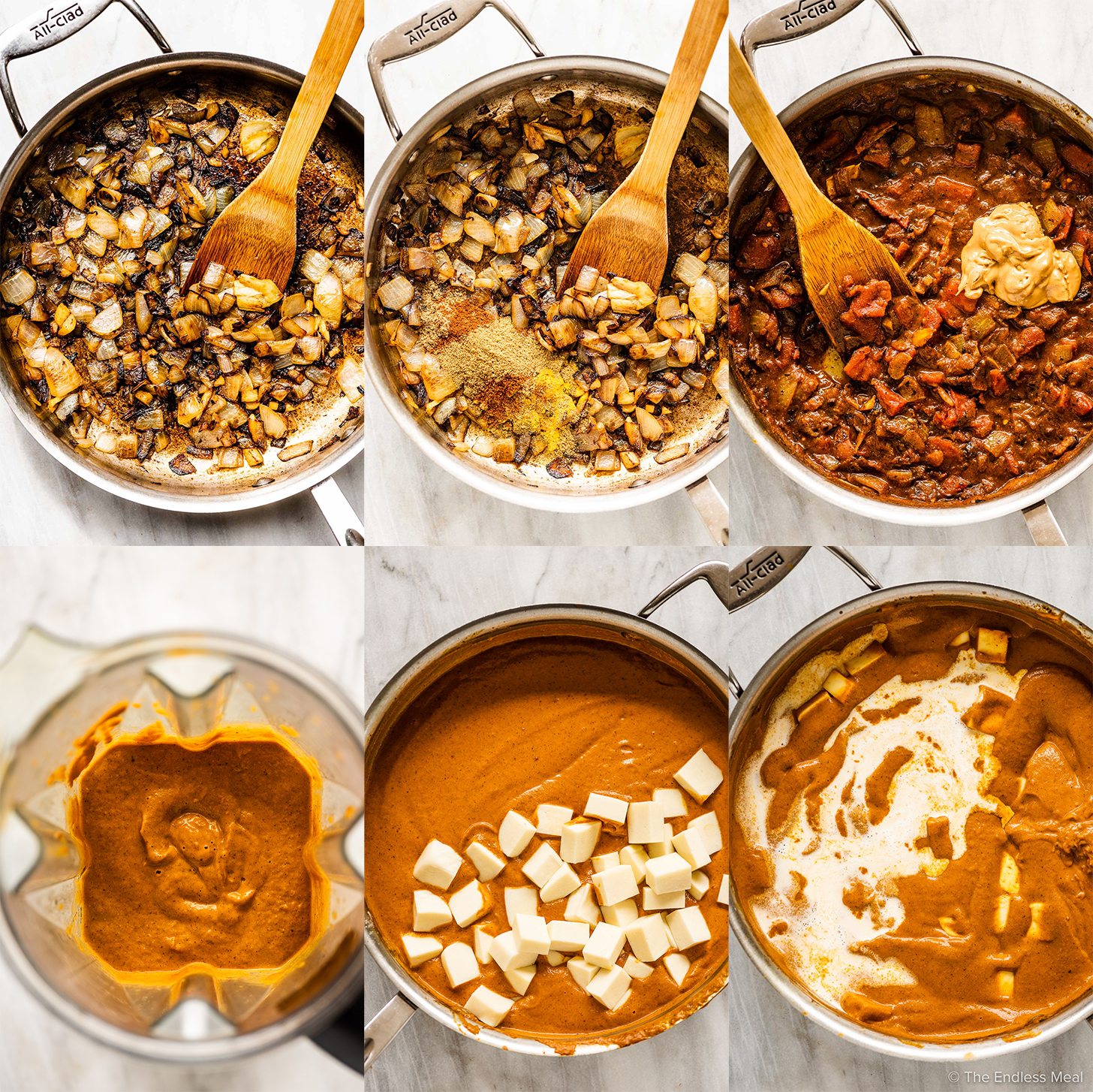 6 pictures showing how to make paneer butter masala.