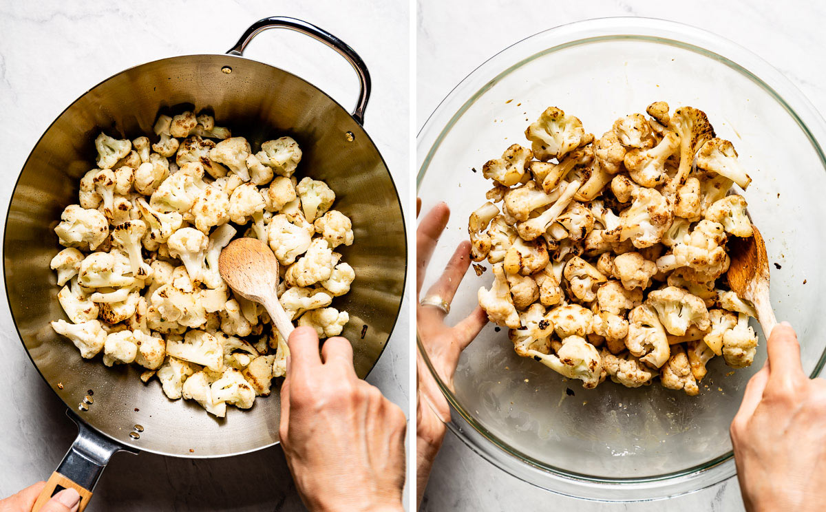 Person mixing cauliflower with Kung Pao sauce