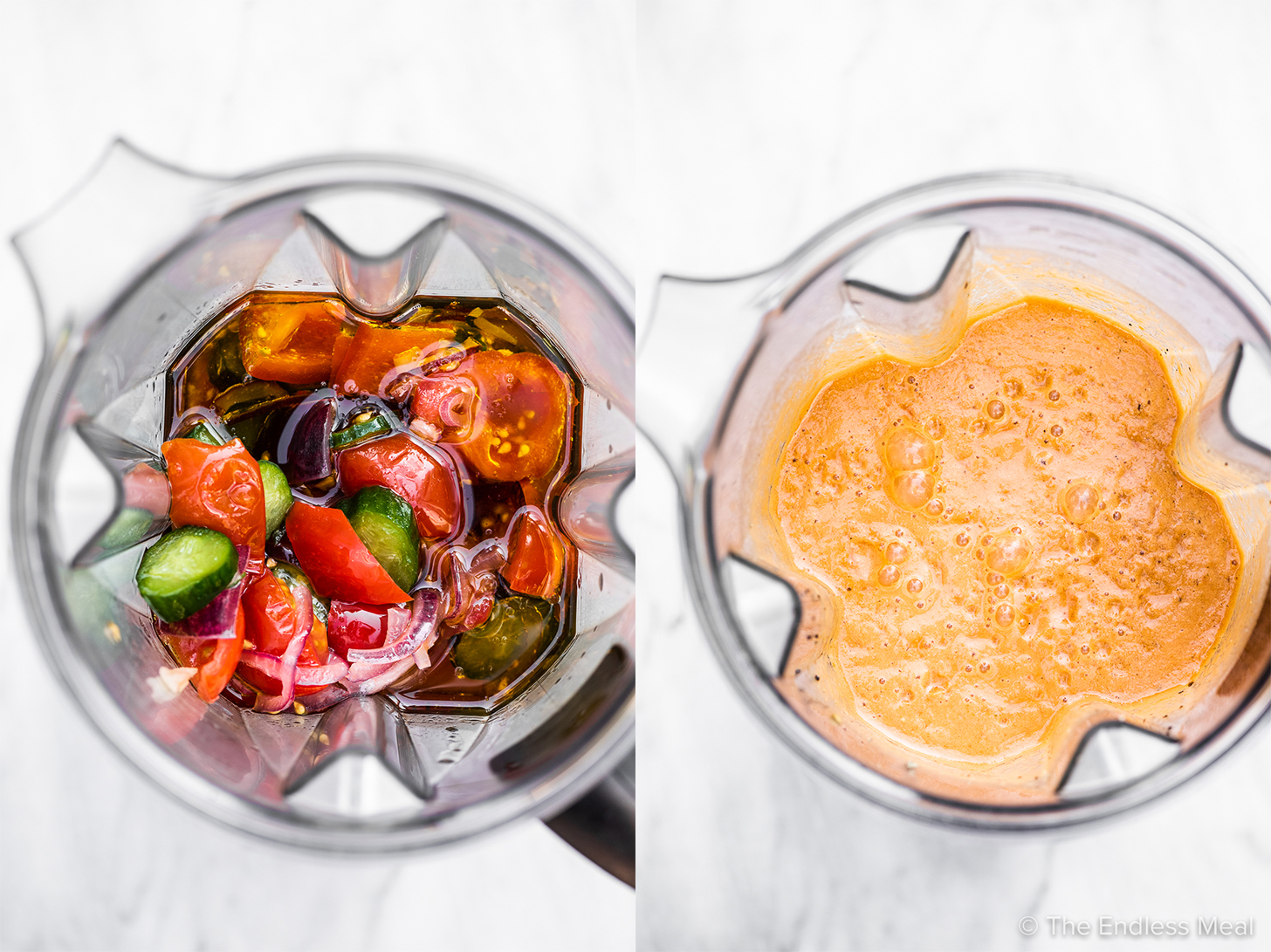 two pictures showing how to make this gazpacho soup recipe.
