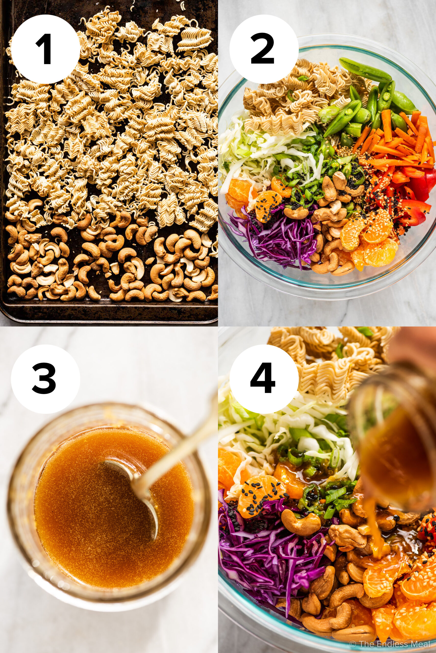 4 pictures showing how to make ramen noodle salad.