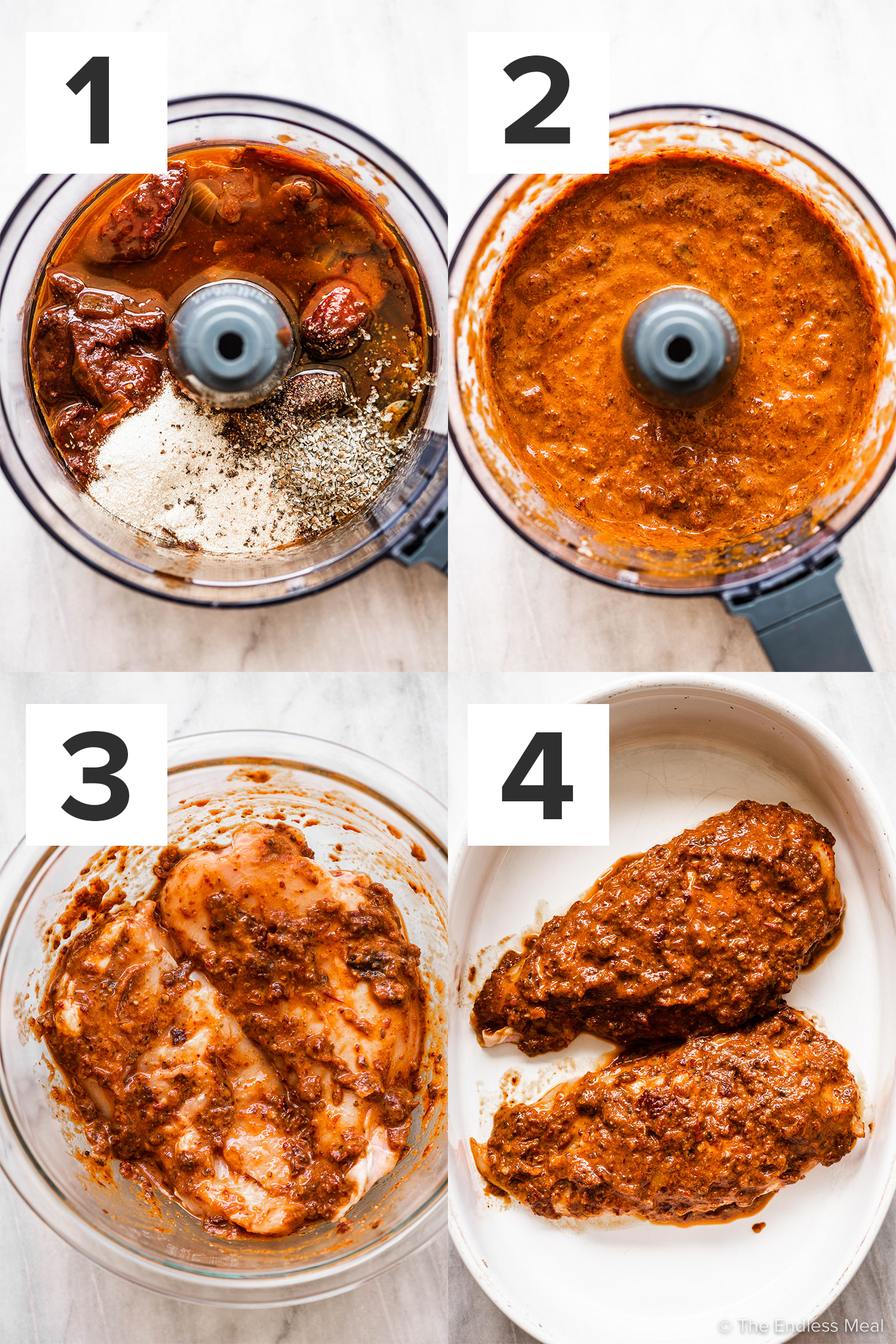 4 pictures showing how to make this spicy chicken marinade recipe.