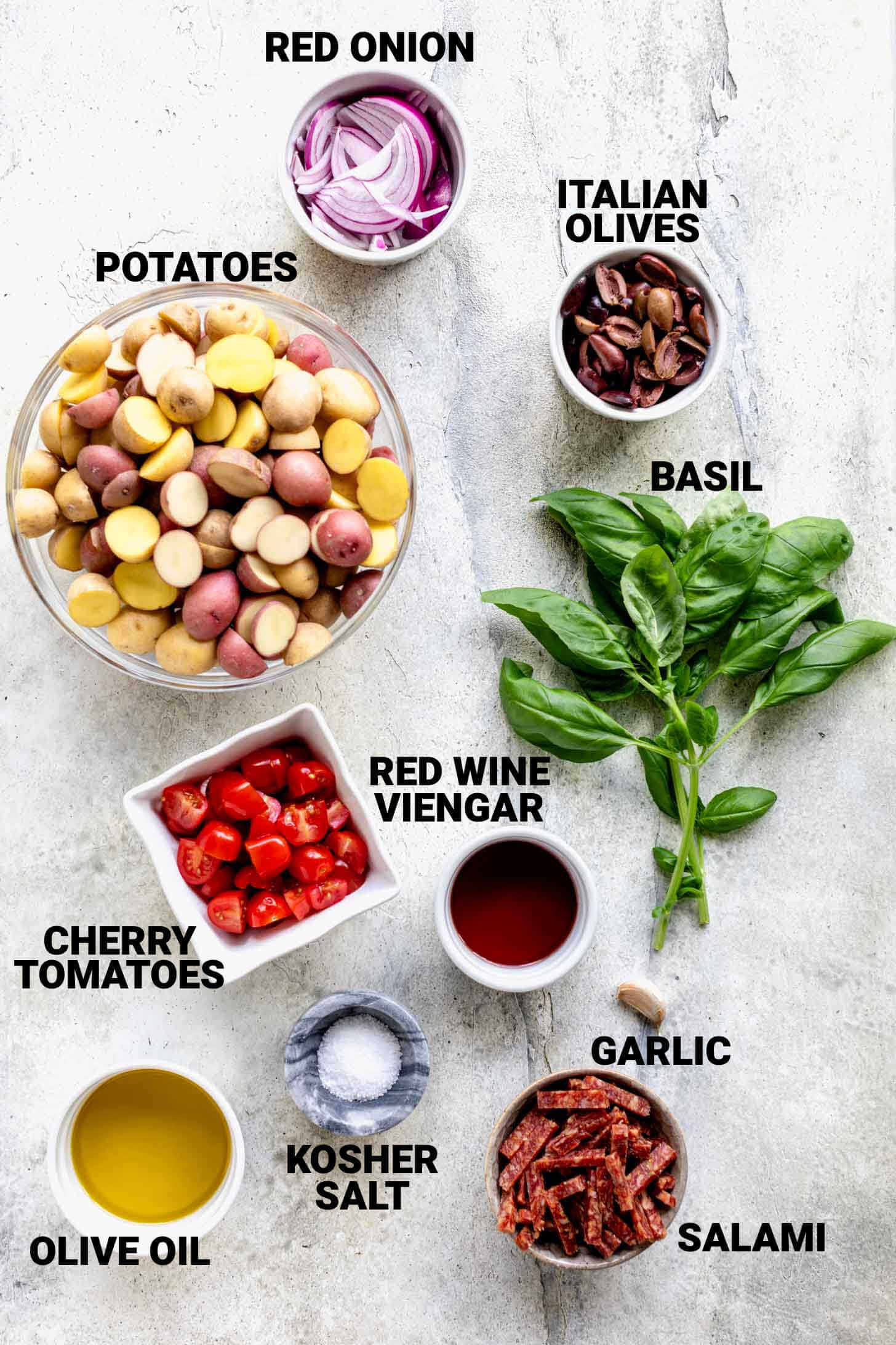 ingredients for italian potato salad with text overlay