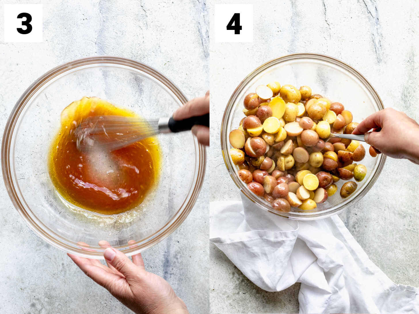 whisk the dressing then add the hot potatoes to the dressing