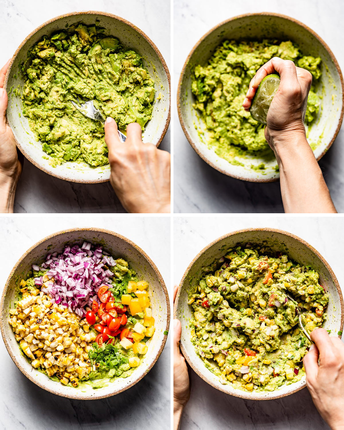 Person showing the steps of how to make this corn guacamole recipe in four images