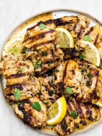 lemon garlic chicken marinade on grilled chicken.