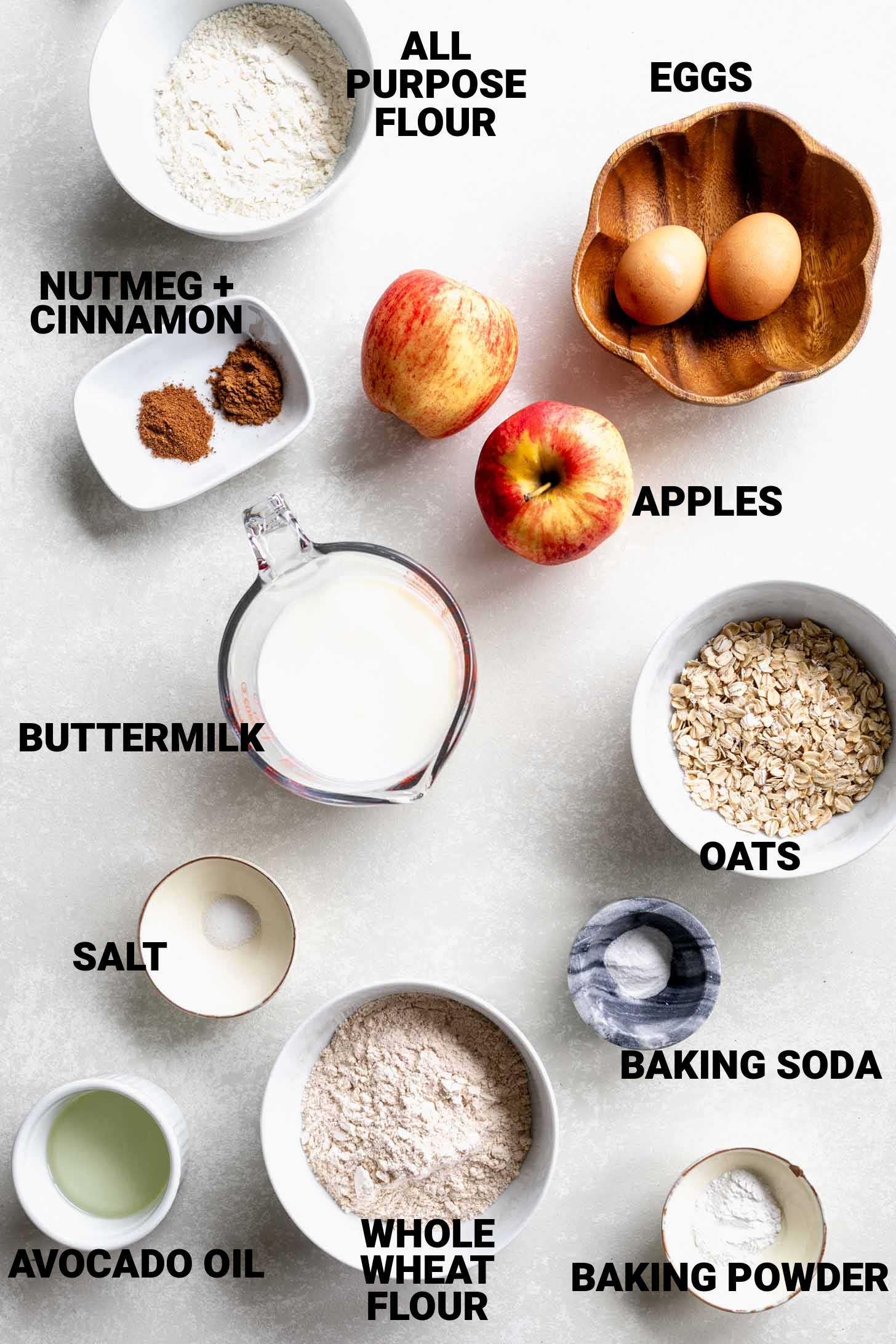 ingredients with labels on a white surface