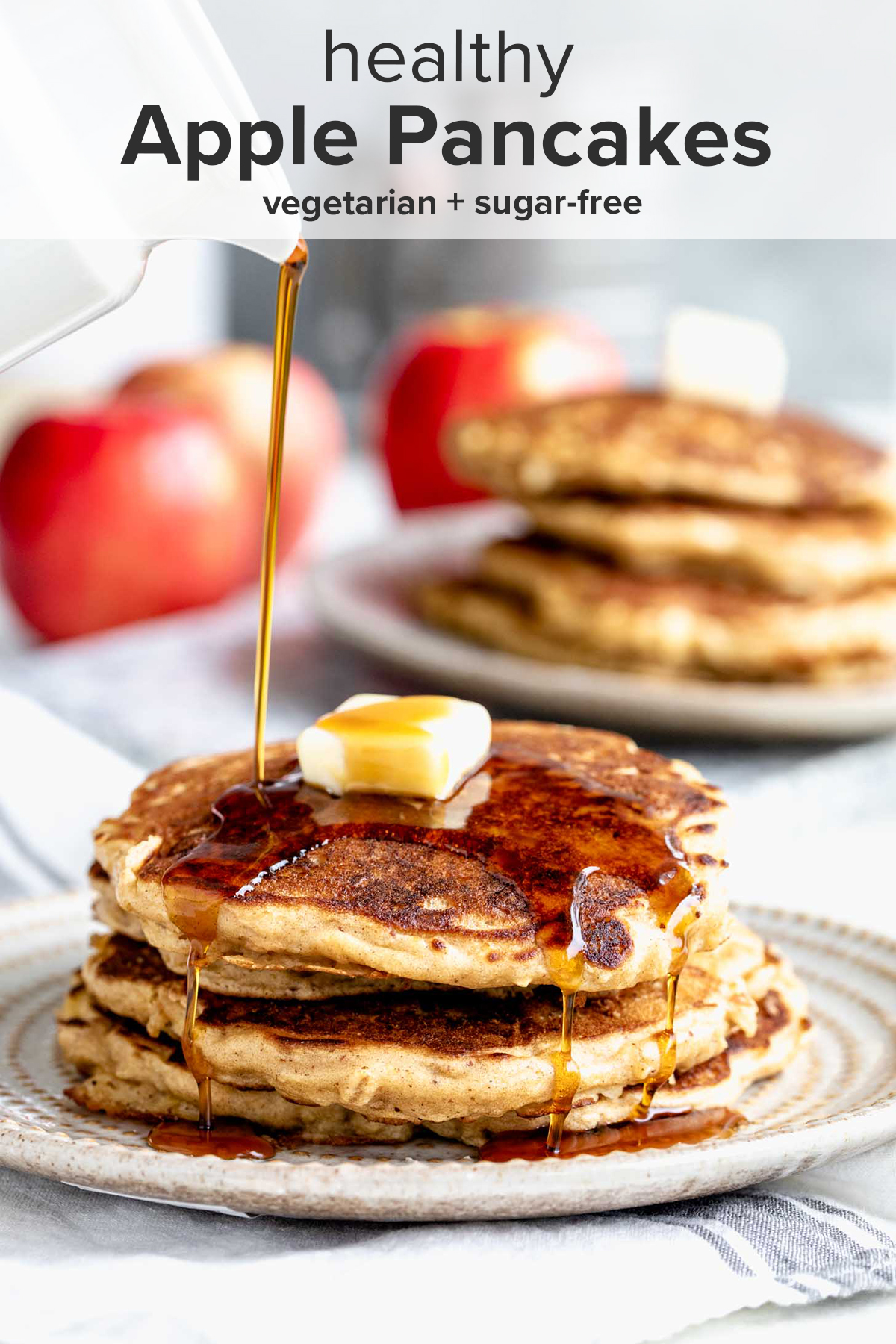 a stack of pancakes with maple syrup being poured over them and the recipe title on top of the picture.