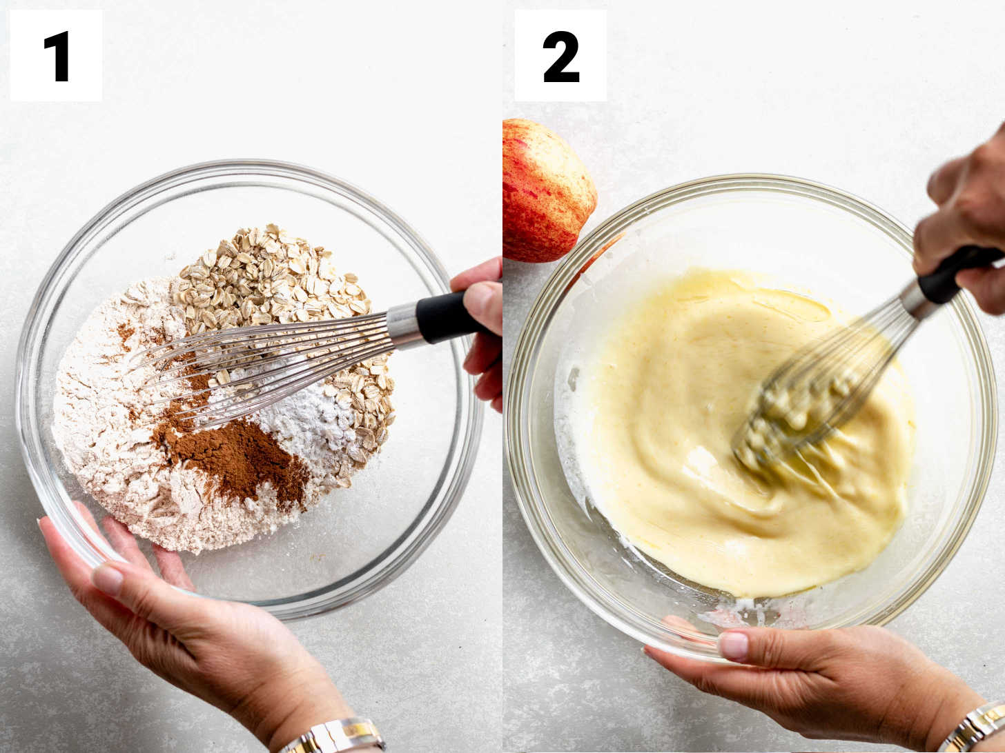 mix the dry ingredients and the wet ingredients in separate bowls