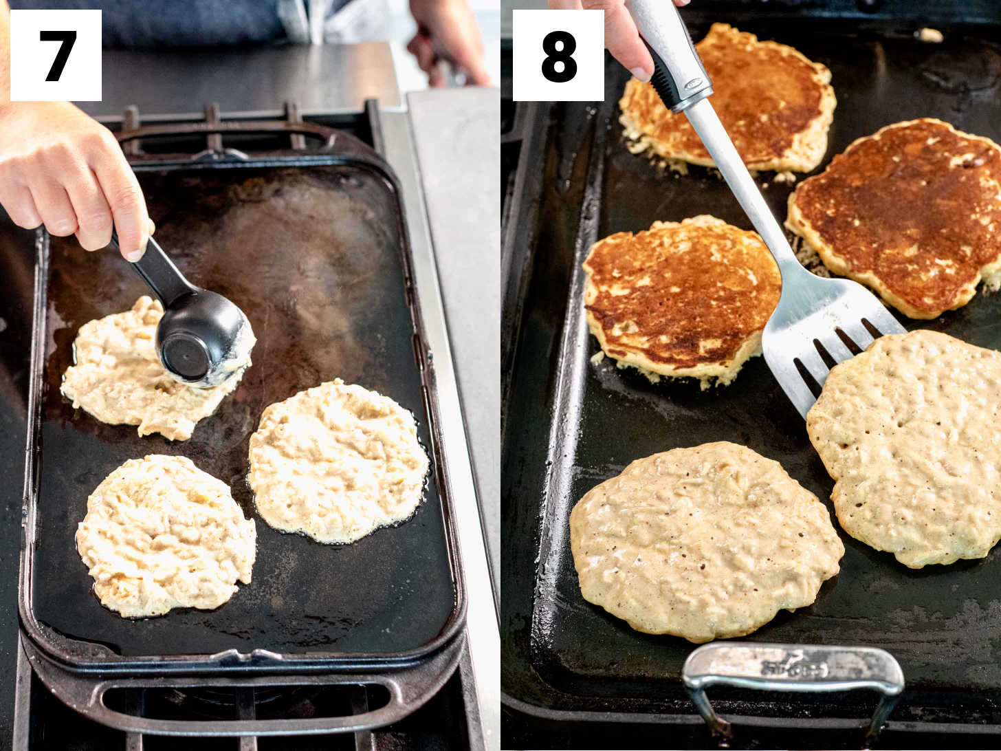spread the batter out into rounds and flip after two to three minutes