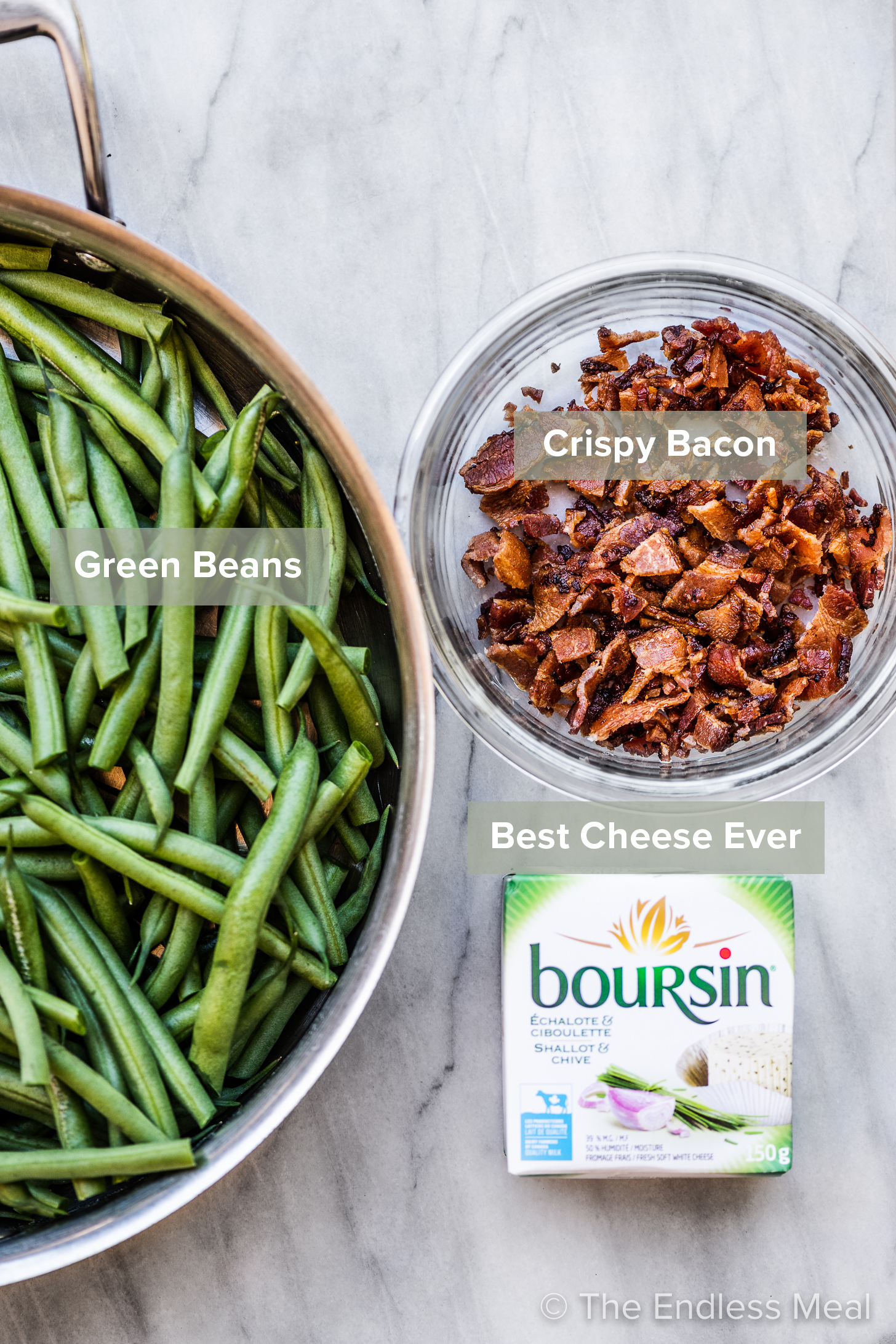 The ingredients to make green beans with bacon and boursin.