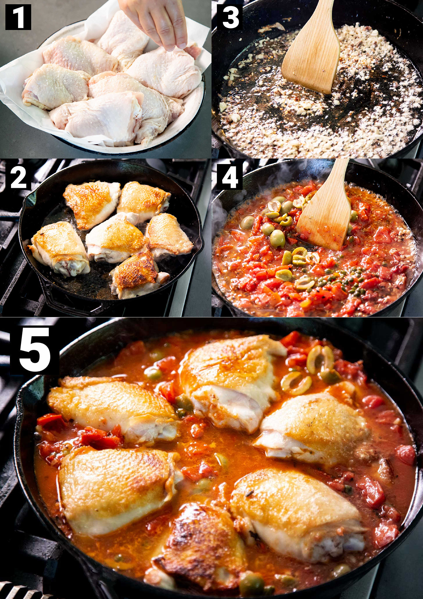 5 images showing how to make chicken puttanesca