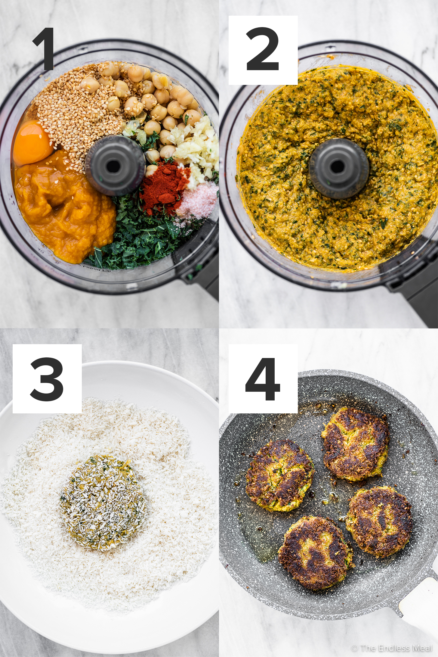 4 pictures showing how to make chickpea pumpkin patties.