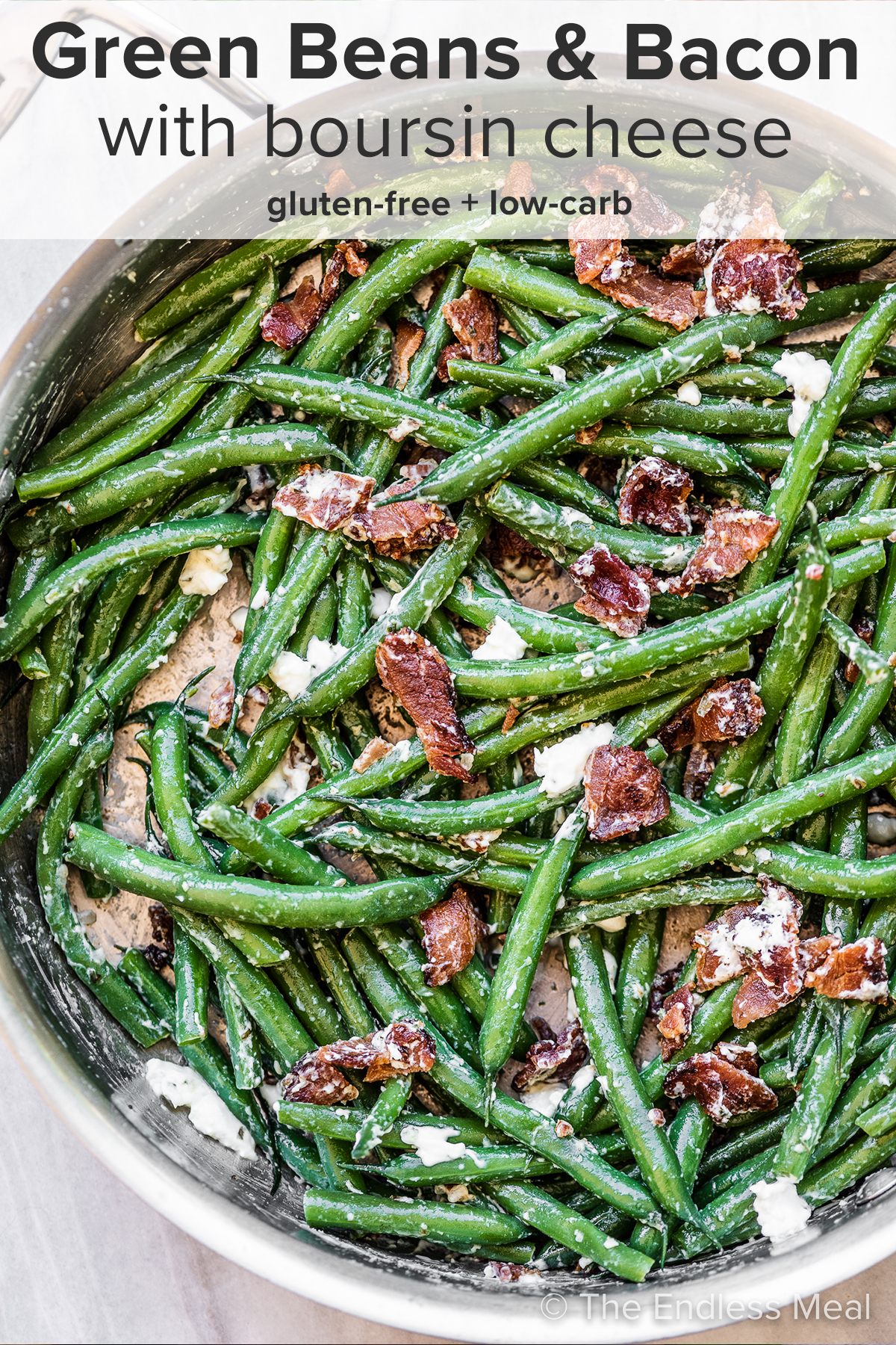 Green beans and bacon in a frying pan and the recipe title on top of the picture.